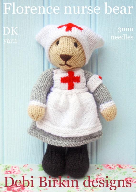 Nurse  teddy bear in uniform PDF email knitting pattern