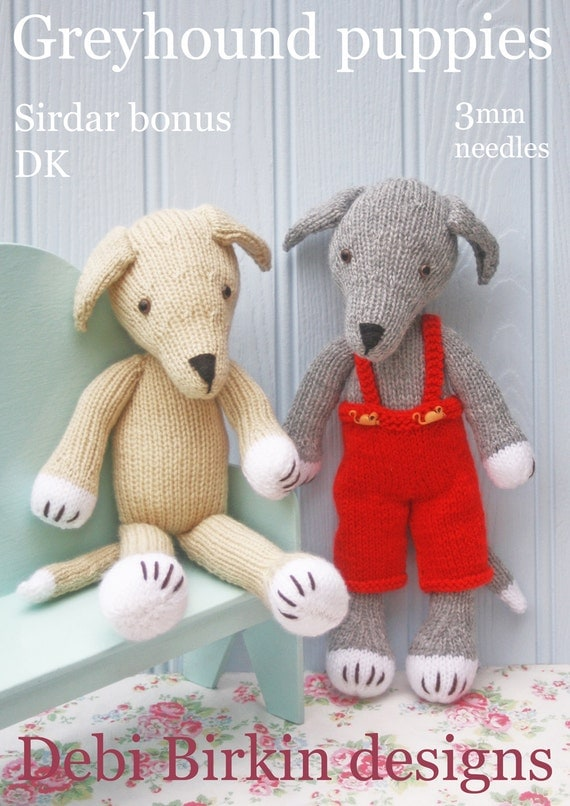 greyhound dog puppy in removeable dungarees PDF email knitting