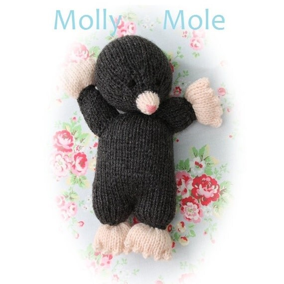 Knitting Patterns For Toys On Etsy : Molly mole PDF email toy knitting pattern