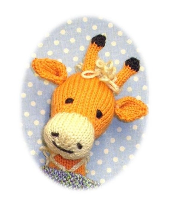 Knitting Pattern Giraffe : knitted giraffe PDF email toy knitting pattern by BunnyFriends Etsy