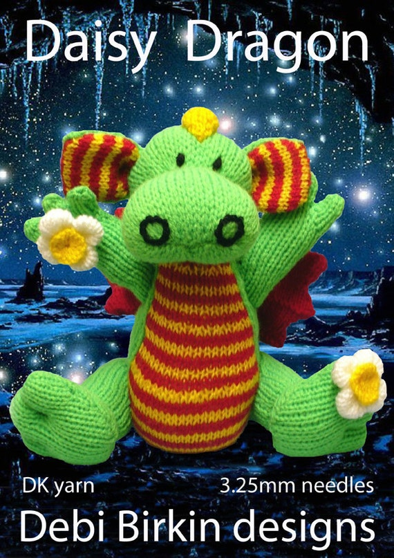 dragon PDF email toy knitting pattern reptile dinosaur
