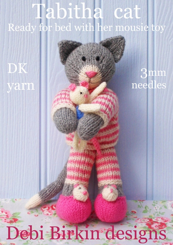 Knitting Patterns Toys : tabitha kitten cat in pyjamas PDF email toy knitting pattern