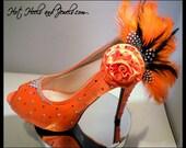 Bling Cross Dresser Burlesque  Dancer Entertainer Theatre Showgirl Show Girl Swarovski Orange Heels Stilettos Size 10