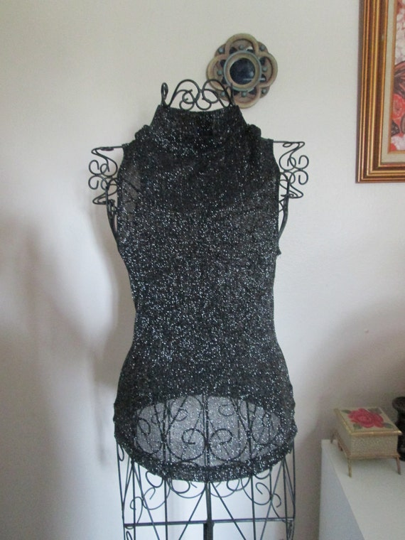 Guess Black and Silver Turtle Neck Sleeveless Top