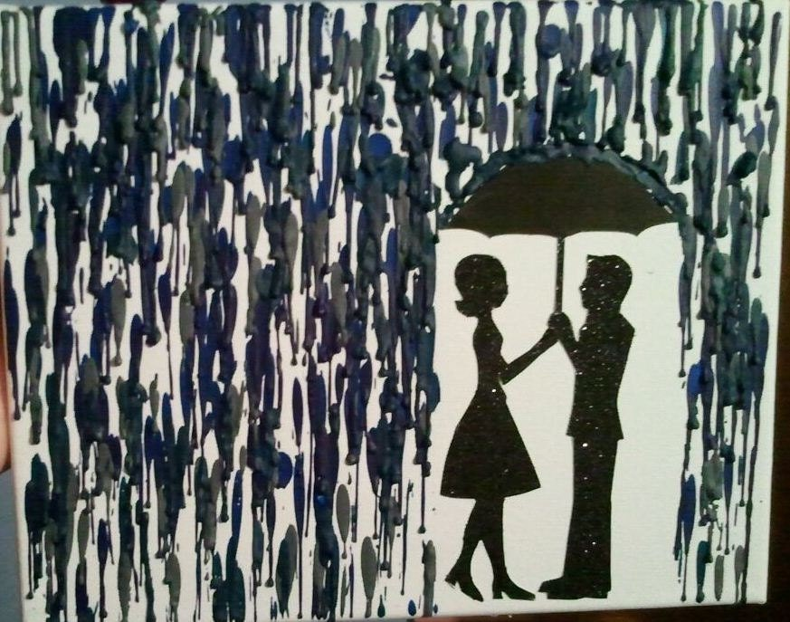 Couple Under Umbrella Silhouette Crayon Art Couple Under UmbrellaCouple Silhouette Umbrella Crayon Art