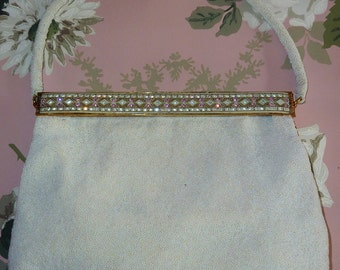 STUNNING Vintage 1950's White Beaded Bag-Made in Paris, FRANCE
