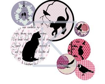 135 Digital collage cats & birds for bottle cap, pendant, scrapbooking, mirror, badge