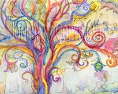 Swirly Bright, watercolor, tree, original painting, 10 by 14 inches