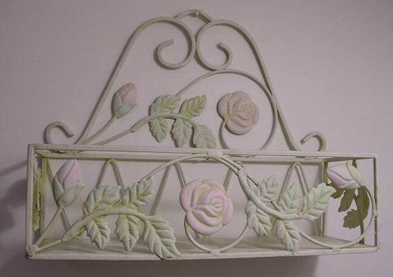 Vintage, Shabby Chic, Iron Wall Shelf/Basket. Lovely and useful.