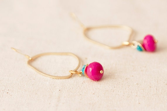 Candy Jade Faceted Rondelle Bead- Gold Plated Droplet Finding-Matt- Colorful Earring-Handmade fashion