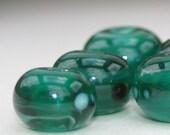 Lampwork Glass SRA Teal Green Blue Six Yellow Frit Bead Set