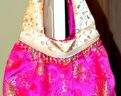 Silky Chic Big Boho bag-pink, cream and green beautiful fabric with lovely embellishments