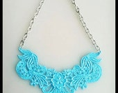 Turquoise Lace Bib Statement Necklace - 18 inch
