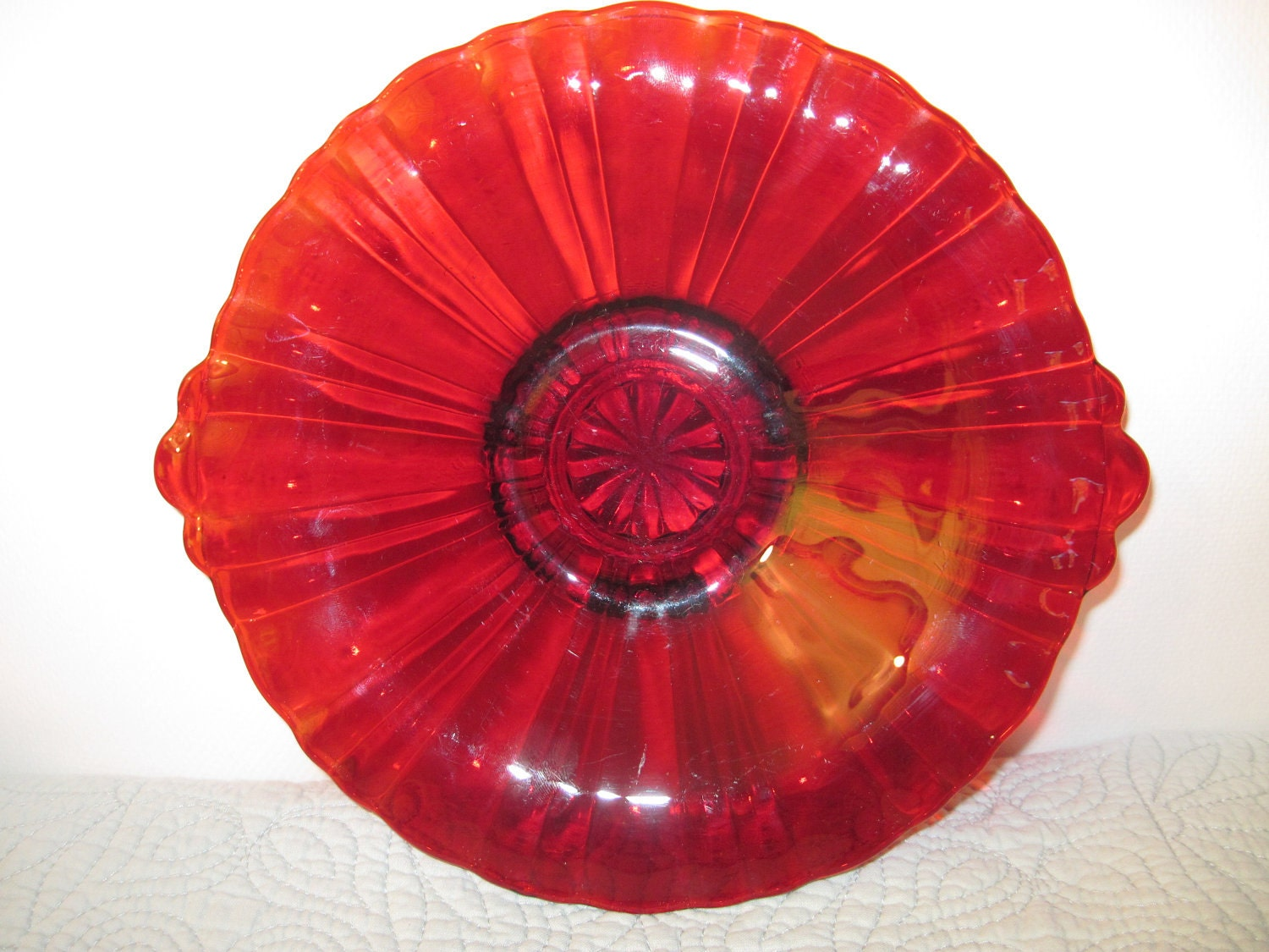 Vintage Ribbed Ruby Red Glass Plate Spectacular Color And