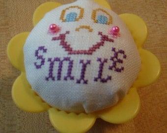 Smile cross stitch cupcake pincushion
