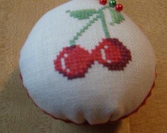 Cherries cupcake cross stitch pincushion