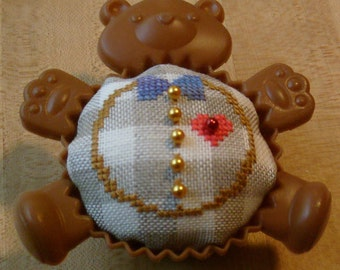 Teddy Bear cross stitch cupcake pincushion
