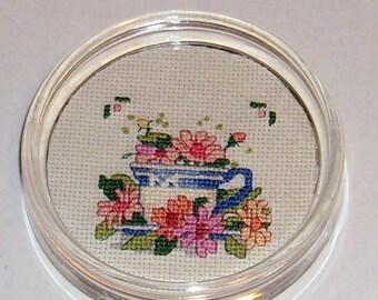 Summer Teacup cross stitch paperweight/coaster