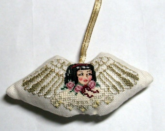 Asian Angel Christmas cross stitch ornament