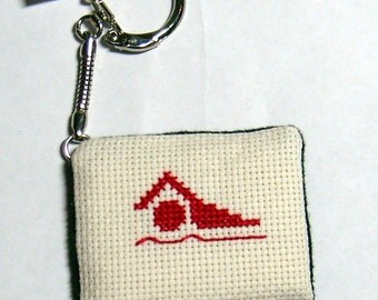 Swimming Free Style cross stitch key chain