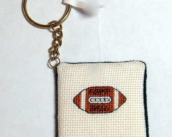 Football cross stitch key chain