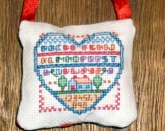 Heart no. 6 cross stitch pocket pillow