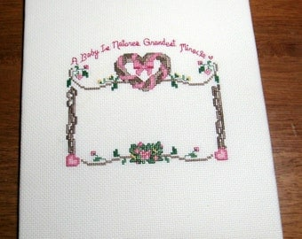 Pink Baby Girl cross stitch Sampler