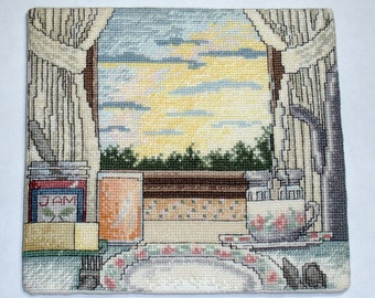 Good Morning cross stitch wall piece