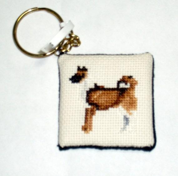 Akita cross stitch dog keychain