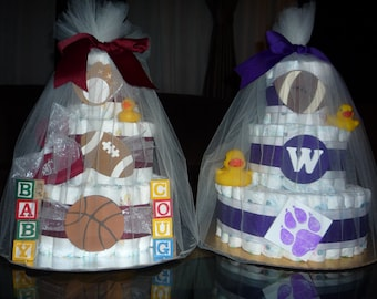 Custom three-tiered diaper cakes, new parent baby shower gifts