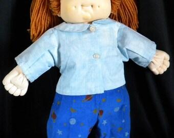 light blue shirt and blue corduroy pants