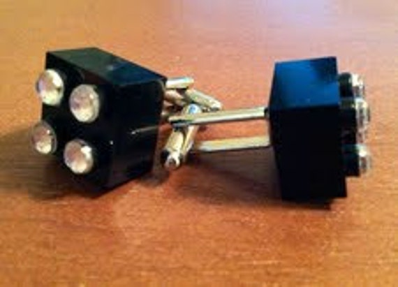 Black Lego Cufflinks with Rhinestones
