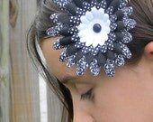 Fabric Flower Hair Clip - Black & White