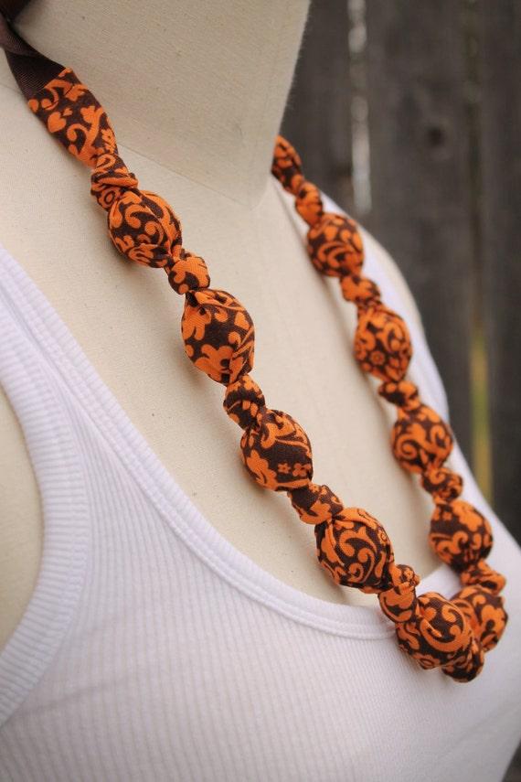 Fabric Necklace, Chomping, Nursing, Teething Necklace - Orange Chocolate