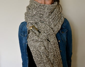 Beautiful sand cable knit scarf made from 100% Aran Wool