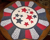 4th of July Round Quilted Table Topper