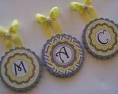 "Scallop Edge Round Wood Nursery Wall Letters - Yellow and Grey Chevron ""Maci"""