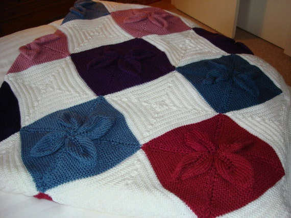 Items similar to Knitted Afghan - Multi-Colored Squares on ...