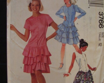 50% OFF SALE-1988 McCall's 3766 Misses Dress Pattern