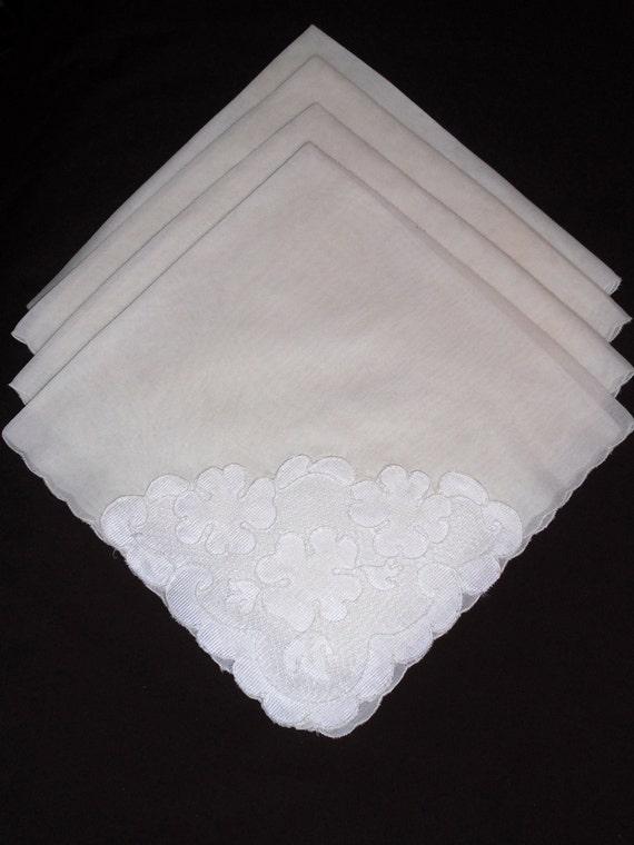 Impressive Set of 4, 17 inch Vintage Napkins Embellished with Embroidered Lace - Bridal Quality