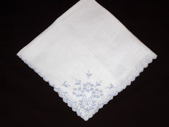 Pale Blue Floral Embroidery Embellishes This Vintage Hankie Perfect for the Bride's Something Old, Something Blue Wedding