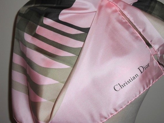 """Retro CHRISTIAN DIOR Silk Scarf with """"D"""" in vintage repeating pattern green on pink"""