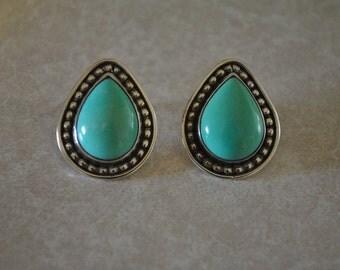Sterling Silver & turquoise teardrop earrings