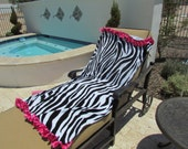 Zebra print beach towel with hot pink satin Ruffle