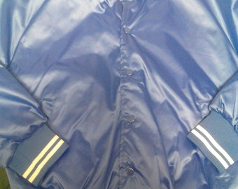 Vtg Blue Satin quilted jacket New With Tags