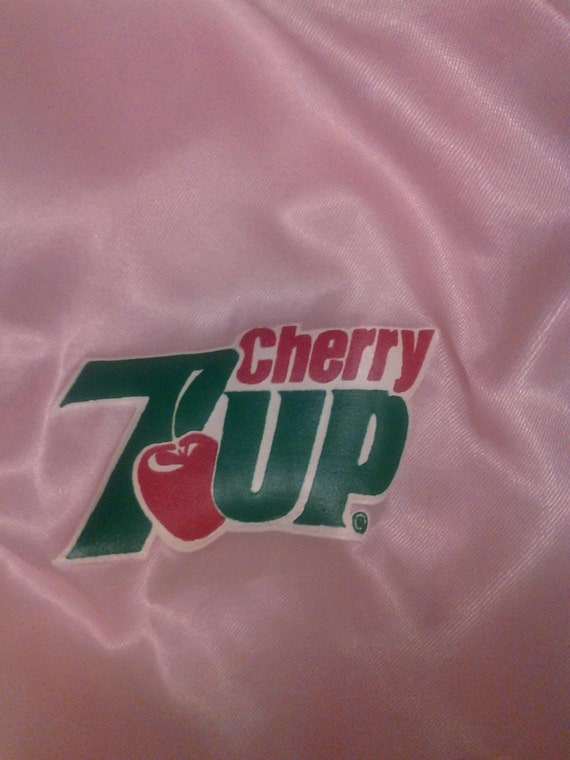 Price reduced Vintage 80s Pink cherry 7up satin jacket