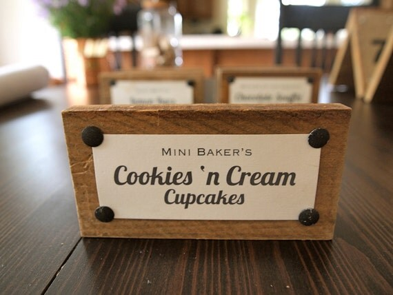 Set of 7 Wood Food Dessert Tags & Signs for Wedding Buffet Table