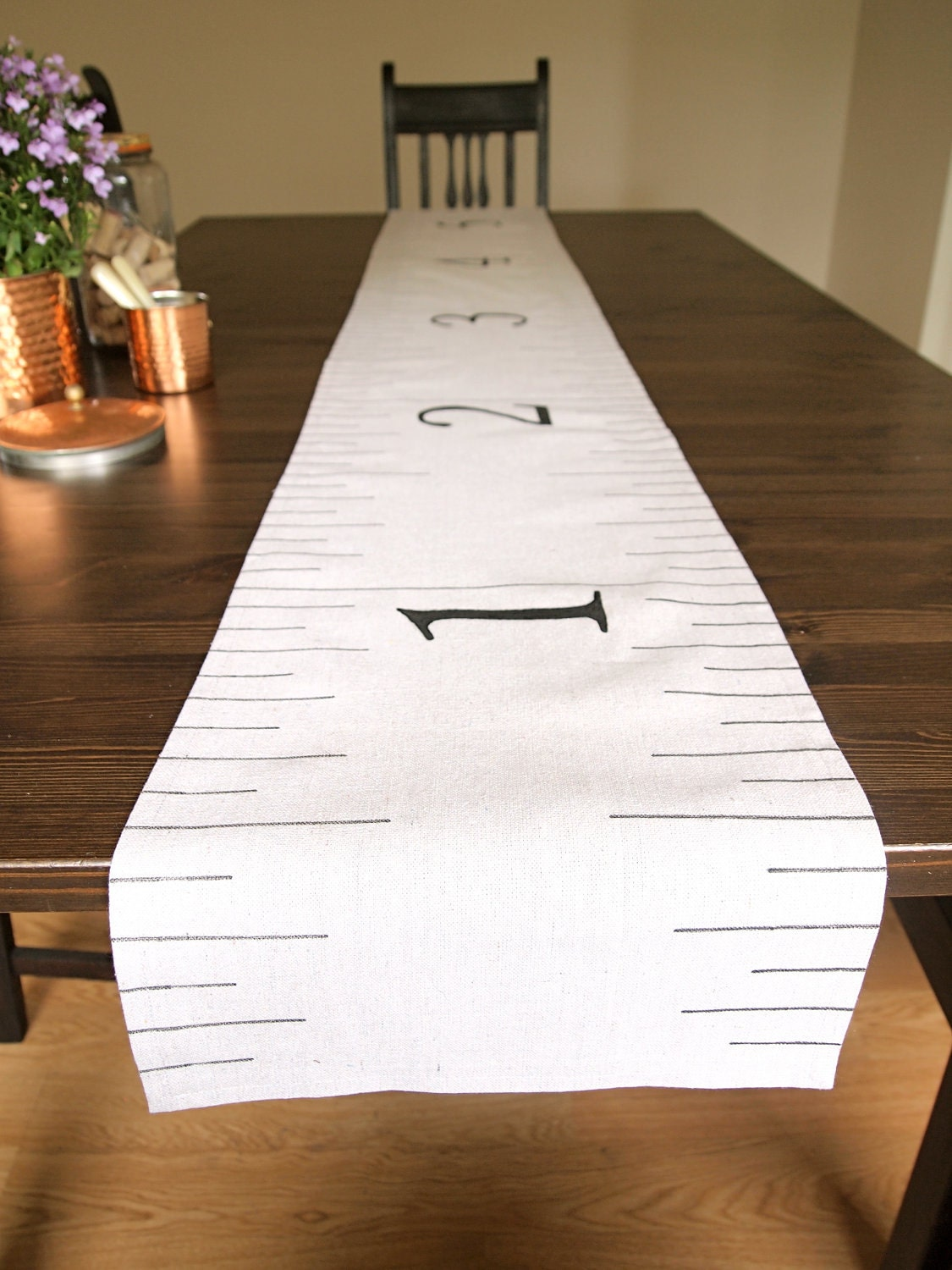 Rustic Country Canvas Burlap Giant Ruler Measuring Tape Table