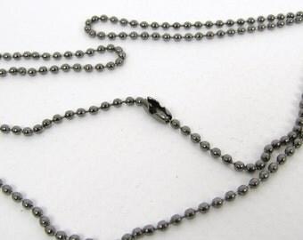 """Gun Metal Black Ball Chain - 27"""",  Pendant Charm Necklace Ball Chain"""