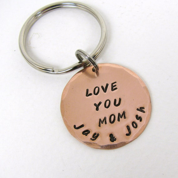 Personalized Copper Keyring, Personalized Keychain, Mom Birthday, Grandma & Grandpa Keyrings, GPS Location keychain, Special date or names